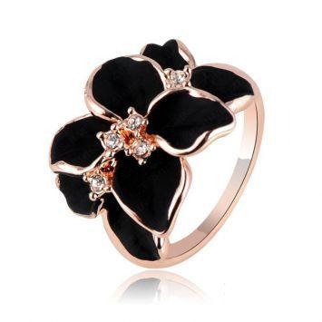 Кольцо - Черно-Белый цветок