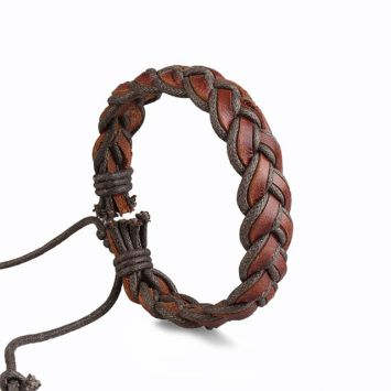 Кожаный браслет - Плетеная косичка