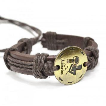 Кожаный браслет - Водолей