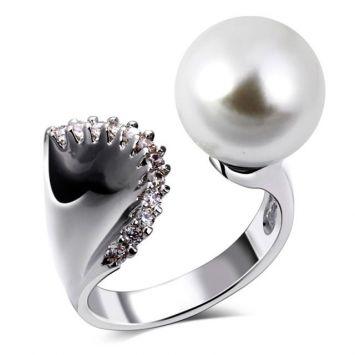 Крупное кольцо - Жемчужный зажим