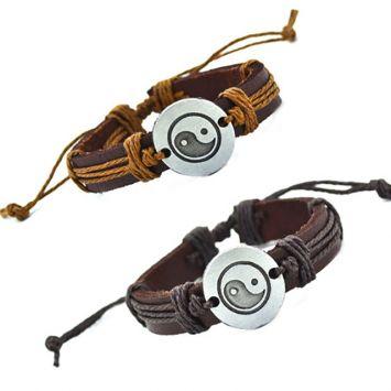 Парные браслеты из кожи - Инь-Янь
