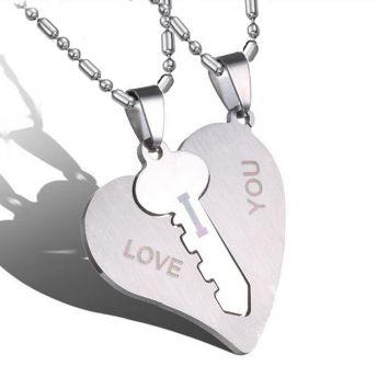 Парные кулоны - Ключ в сердце