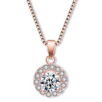 Розовое золото с белым камнем