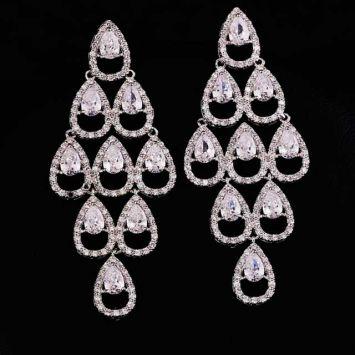 Серьги - Ромб из кристаллов