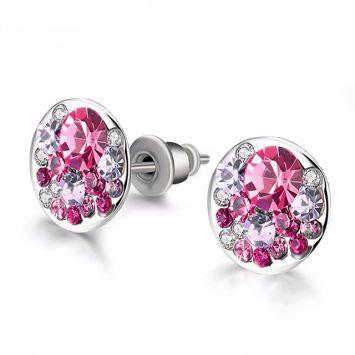 Серебряный с розовым камнем