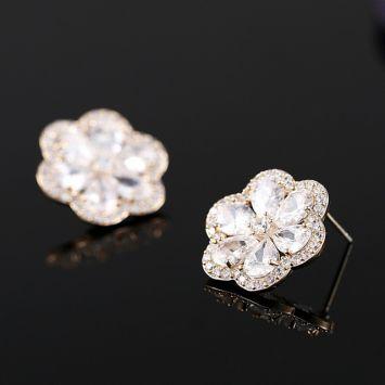 Серьги-пусеты - Цветочный кристалл