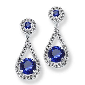Серебряный с синим камнем