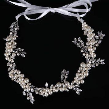 Свадебный венок - Жемчужные перья