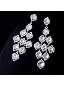 Большие серьги - Ромб с кристаллами