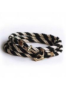 Браслет морской с якорем - Черно-белый хлопок