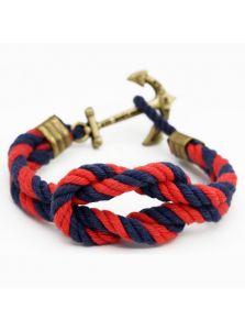 Браслет морской с якорем - Стопорный узел (красно-синий)