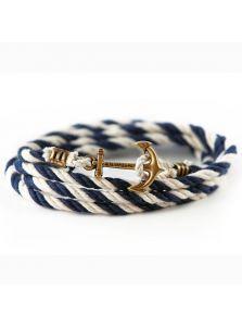 Браслет в морском стиле - Бело-синий хлопок