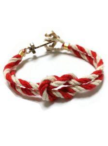 Браслет якорь - Стопорный узел (красно-белый)