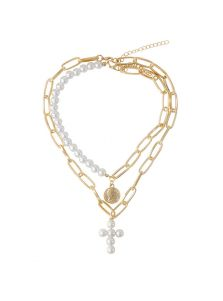 Двойное ожерелье - С крестом