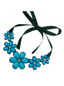 Колье на ленте - Блестящие цветы