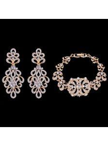 Комплект украшений - Букет кристаллов (Золото)