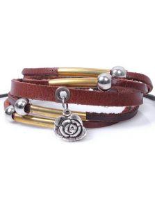 Кожаный браслет - Металлическая роза