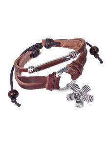 Кожаный браслет - Металлический цветок