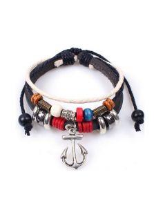 Кожаный браслет - Якорь