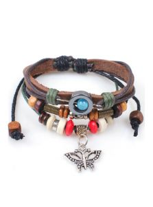 Кожаный браслет - Бабочка