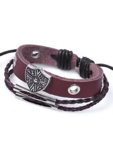 Кожаный браслет - Каменный щит