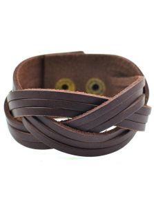 Кожаный браслет - Косичкой