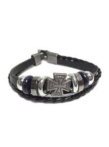 Кожаный браслет - Крест