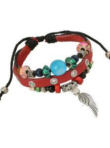 Кожаный браслет - Малахит