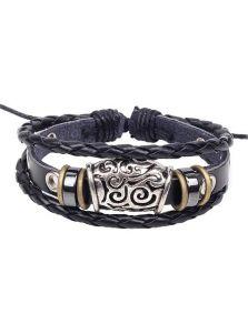 Кожаный браслет - Металлический орнамент