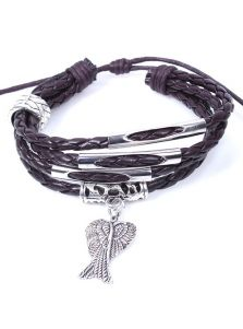 Кожаный браслет - Металлические крылья
