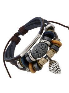 Кожаный браслет на затяжке - Ракушка
