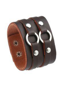 Кожаный браслет-напульсник - С кольцами