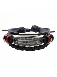 Кожаный браслет - Орлиное перо
