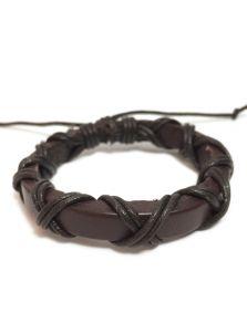 Кожаный браслет - Переплетенный