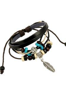 Кожаный браслет - Перо