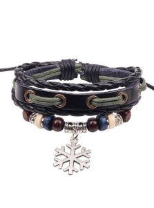 Кожаный браслет - Снежинка