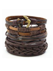 Кожаный набор браслетов - Сложная саржа