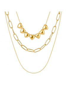 Многослойное ожерелье - С сердцами