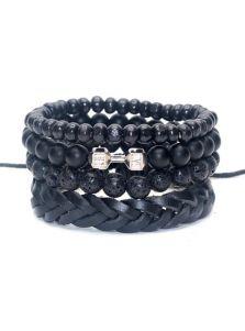 Мужской набор браслетов - Гантель