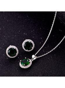 Набор украшений - Круглые камни (Зеленый)