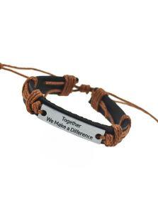 Парные кожаные браслеты - С гравировкой