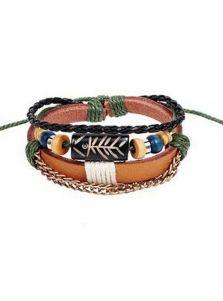 Плетеный кожаный браслет - Античный