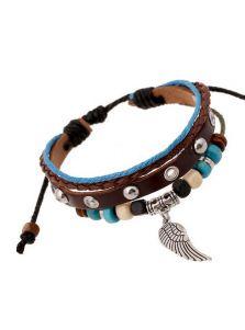 Плетеный кожаный браслет - Крыло