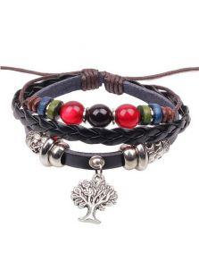 Плетеный кожаный браслет - Дерево
