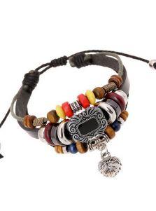 Плетеный кожаный браслет - Цветной