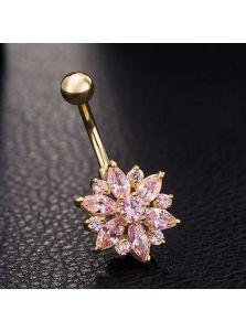Серьга в пупок - Кристальный цветок
