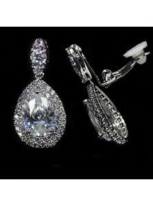 Серьги-клипсы - Кристалл для невесты