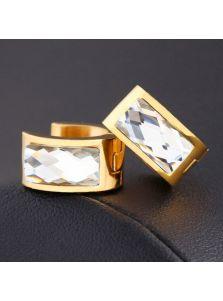 Серьги-кольца - Продолговатый камень