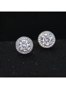 Серьги-пусеты - Круглый кристалл