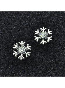 Серьги-пуссеты - Кристальная снежинка